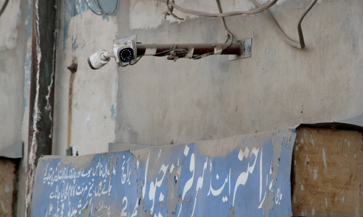 A CCTV camera hangs in a street in Kasur | Feryal Ali Gauhar