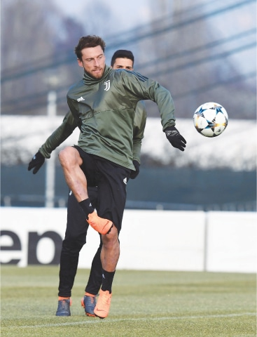 TURIN: Juventus' Claudio Marchisio kicks the ball during a training session on Monday.—AFP