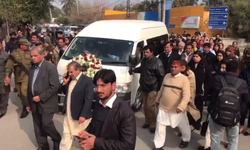Asma Jahangir's funeral procession makes its way to Lahore's Gaddafi Stadium. ─ DawnNews