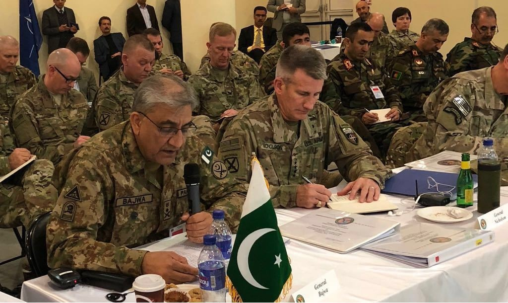 Army Chief Gen Qamar Javed Bajwa speaks at the Chiefs of Defence Conference in Kabul.— Photo: ISPR