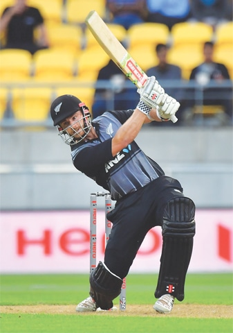 WELLINGTON: New Zealand captain Kane Williamson bats during the tri-series Twenty20 International against England at the Westpac Stadium on Tuesday.—AFP