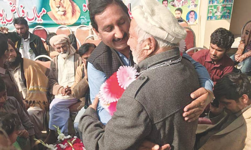PML-N's Syed Iqbal Shah celebrating his victory in the NA-154 by-election in Lodhran on Tuesday.—Dawn