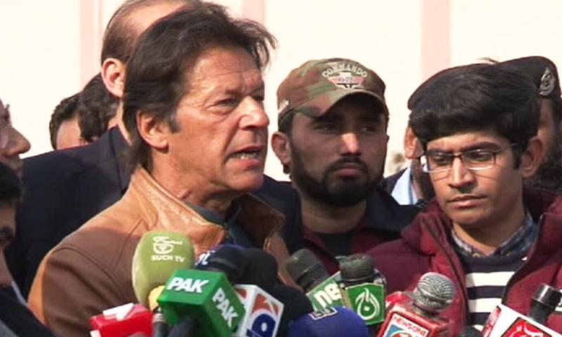 Imran Khan speaks to media outside the ATC on Thursday. — DawnNews