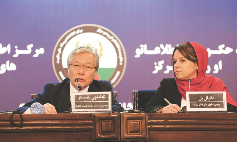 Kabul: Tadamichi Yamamoto (left), the UN special representative for Afghanistan, and Danielle Bell, a human rights official of the United Nations Assistance Mission in Afghanistan, address a press conference on Thursday.—AP