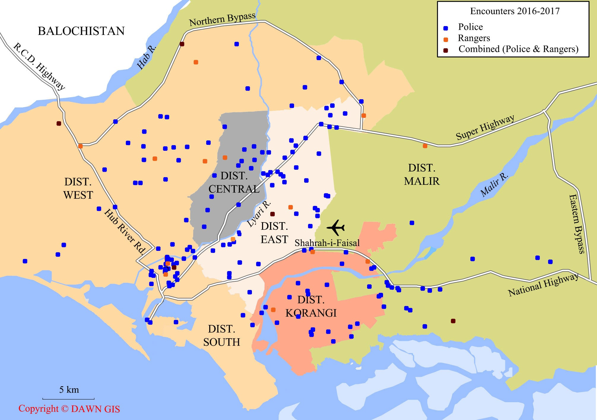 Map shows police encounters for 2016 and 2017 in Karachi, minus encounters in Malir district except for those collated from news reports.  The complete record of encounters under SSP Malir did not exist even in the Central Police Office. — Dawn/GIS