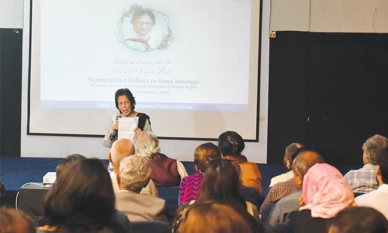 RETIRED Justice Majida Rizvi speaks at the memorial held on Friday.—White Star