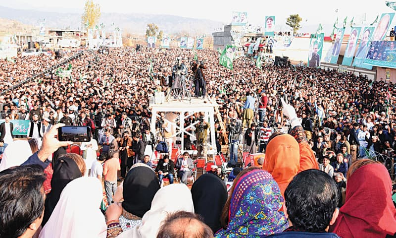MANSEHRA: Maryam Nawaz (an arm raised) addressing a big rally here on Friday.—White Star