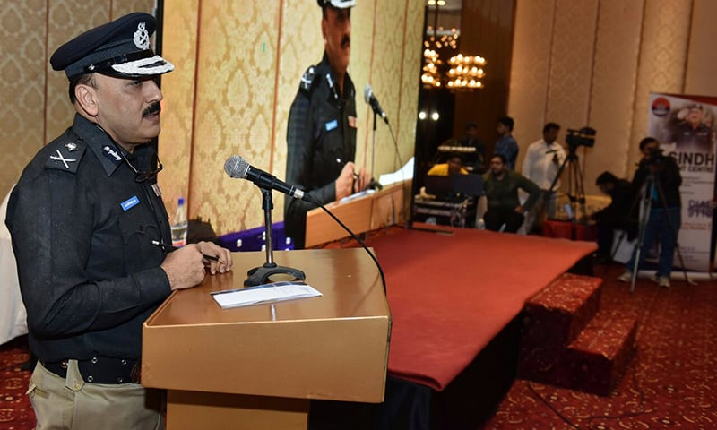 Sindh IGP A.D. Khowaja speaks at a seminar in Karachi on Saturday.— Photo: Sindh police