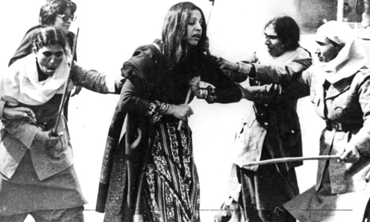 Activist Bushra Aitzaz protests the Law of Evidence in Lahore, 1983 | Azhar Jaffery