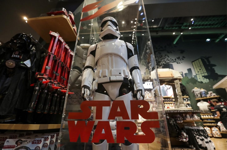 A model Storm Trooper stands on display at the Walt Disney Co store in New York on September 1, 2017 | Jeenah Moon