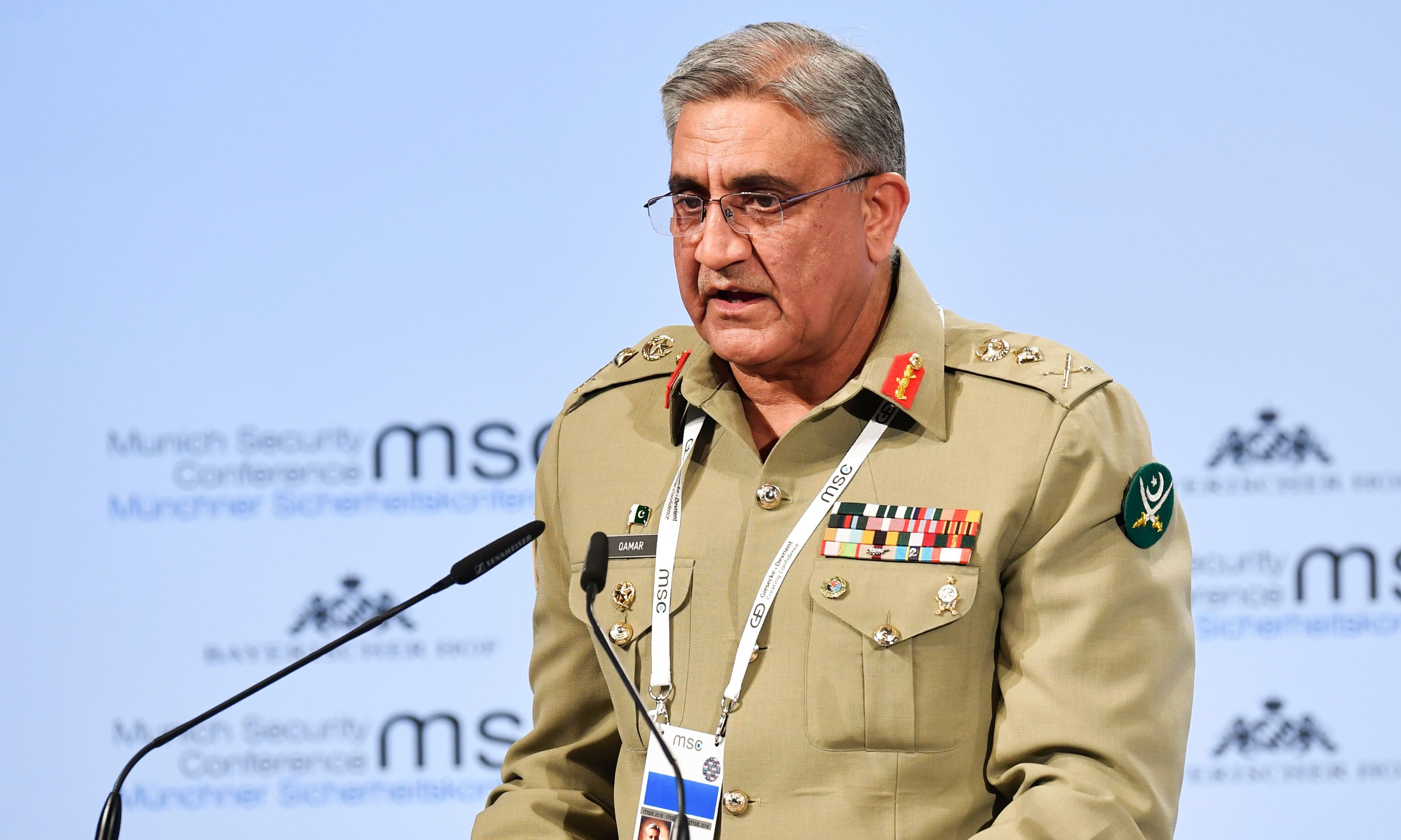 Chief of Army Staff Qamar Javed Bajwa gives his speech on day two of the 54th Munich Security Conference (MSC) in Munich, southern Germany, on February 17, 2018. —AFP