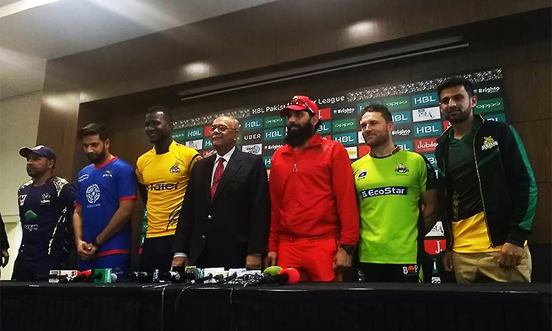 The captains of each of the PSL franchises addresses a press conference in Dubai. ─ Photo by Sukena Rizvi.