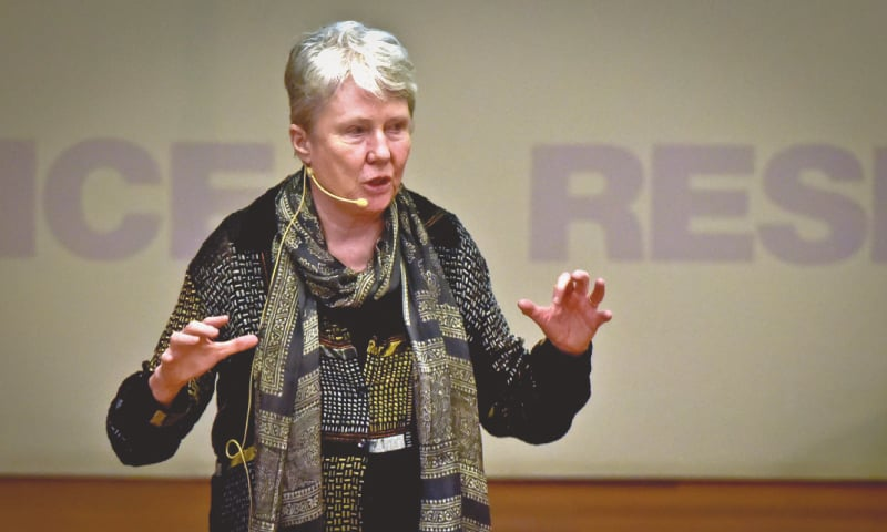 DR Maria Klawe speaks at Habib University on Tuesday.—White Star