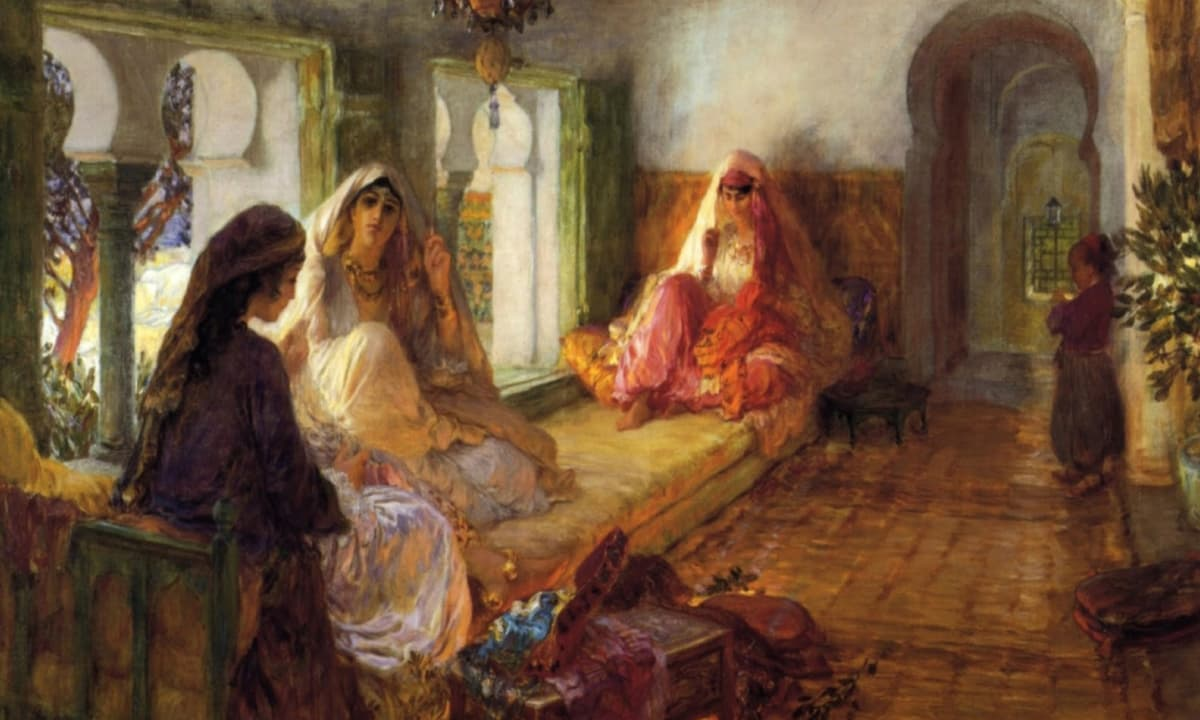 American artist Frederick Arthur Bridgman's 1904 painting, *The Harem*