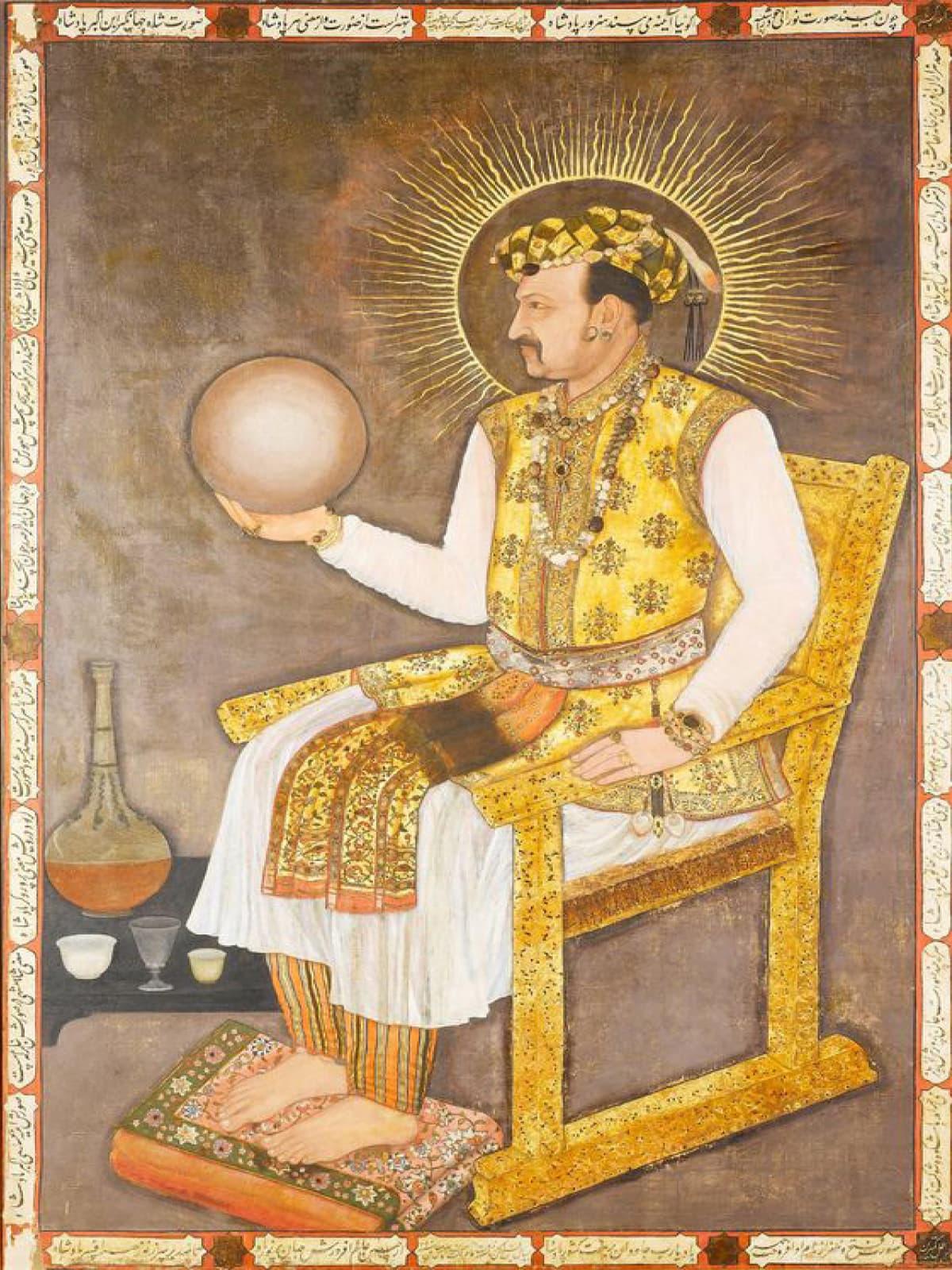 Mughal painter Abu al-Hasan's portrait of Emperor Jahangir circa 1600