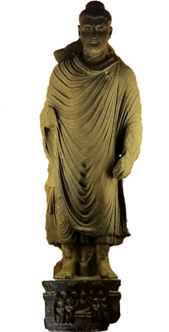A life-sized statue of the standing Buddha