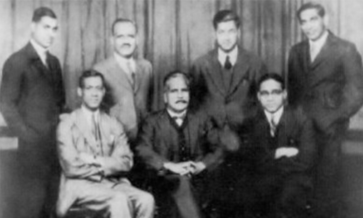 Choudhry Rehmat Ali (seated first from left) with Muhammad Iqbal (centre), Khawaja Abdul Rahim (right) and a group of other young activists   Photo credit: Wikipedia