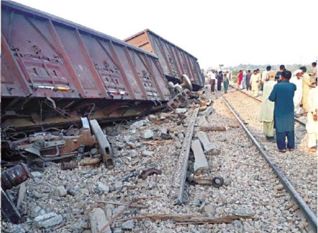 Image result for Pakistan Railways train 5 bogies derailed enroute Karachi