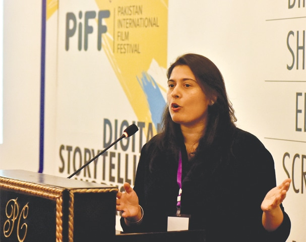 SHARMEEN Obaid-Chinoy talks to aspiring film-makers during the workshop on Wednesday.—Fahim Siddiqi/White Star