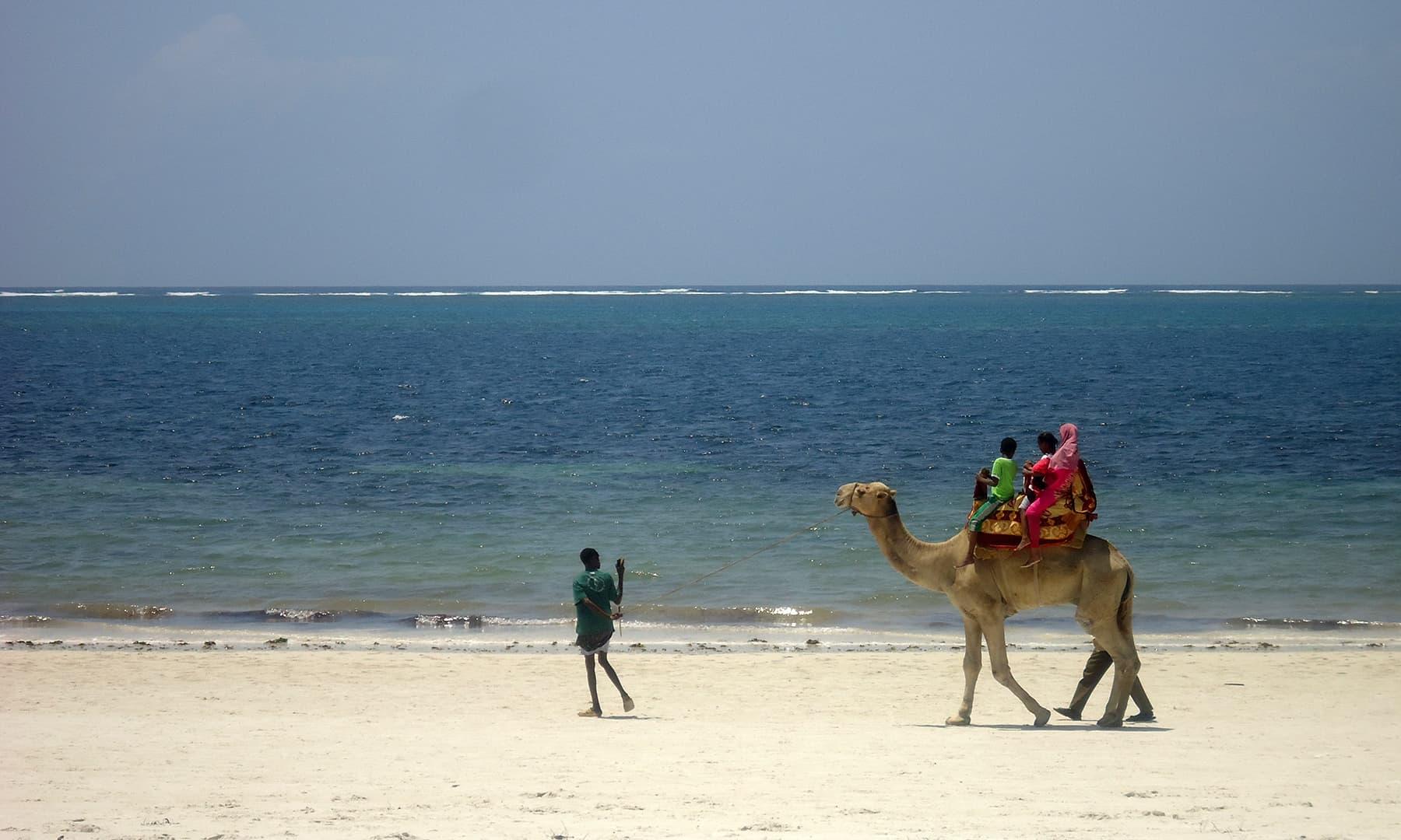 ممباسا کے ساحل پر مقامی لوگ اونٹ کی سواری سے محظوظ ہورہے ہیں— فوٹو عظمت اکبر