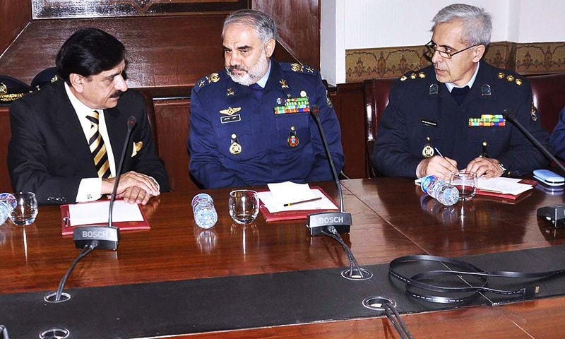 National Security Adviser Nasser Khan Janjua in a meeting with Iranian Air Force Commander Brigadier General Hassan Shahsafi at NSA office. —APP
