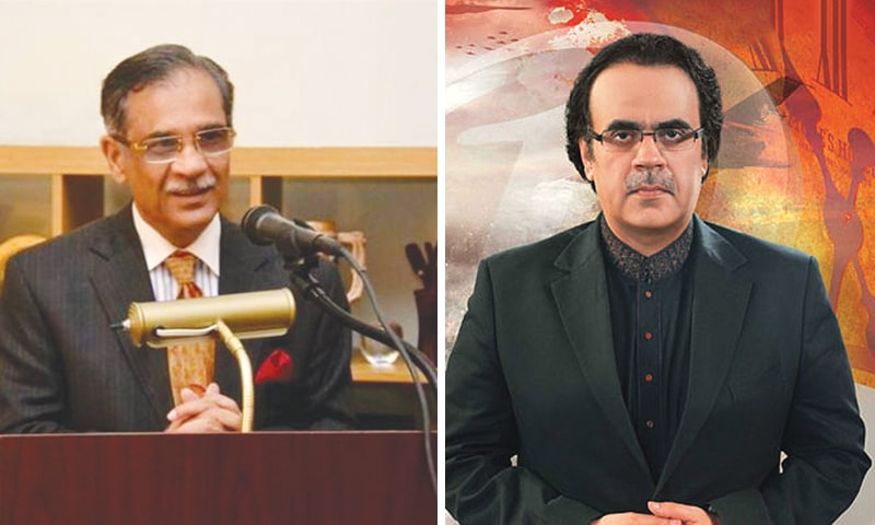 Left: Chief Justice of Pakistan Mian Saqib Nisar; (right) TV anchorperson Shahid Masood was summoned to court to provide evidence for his claims regarding the case of Zainab Amin