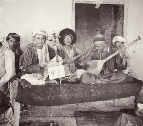 Typical teahouse orchestra in Tashqurghan, Afghanistan in the 1950s