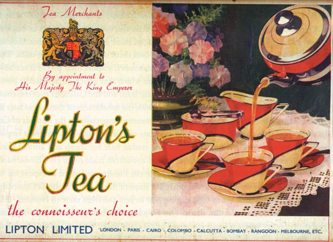 Ad for Lipton Tea, circa 1930s/1940s