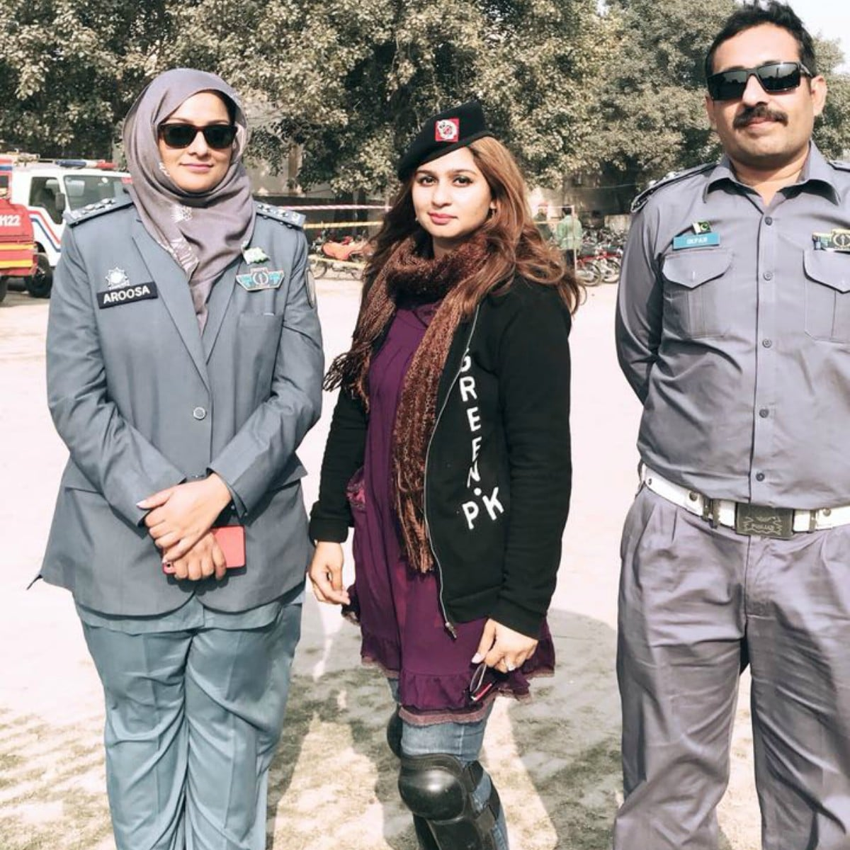 Nimra Saleem with her trainers at Rescue 1122 in Lahore