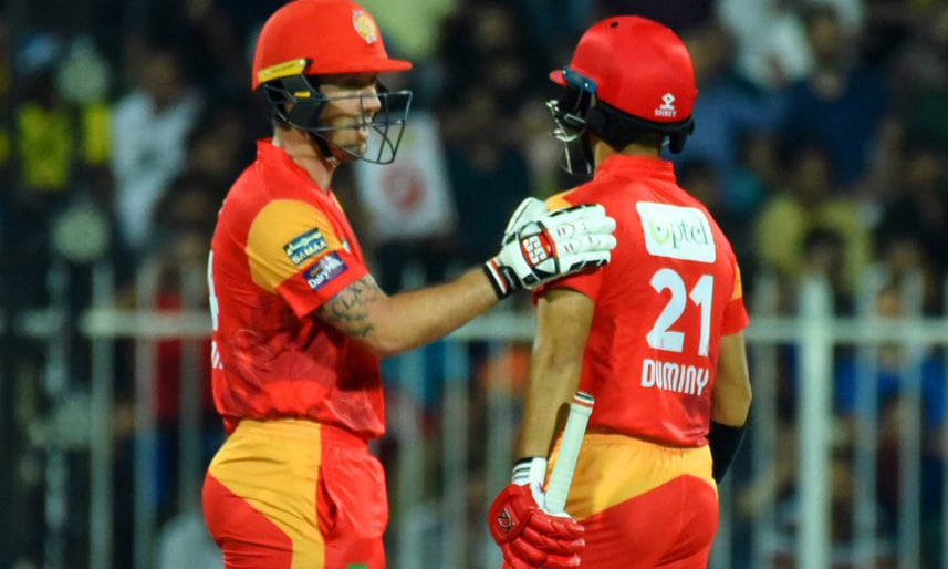 United opener Luke Ronchi sets Sharjah alight with some fantastic shots, scoring 71 off 37 balls. —PSL