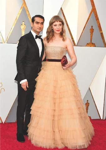 Kumail Nanjiani with Emily V. Gordon at the Academy Awards.—AFP