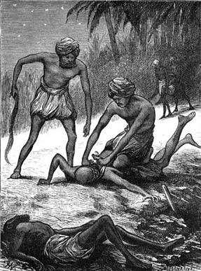 ٹھگ اکثر رات کے وقت مسافروں کا گلہ گھونٹا کرتے تھے—تصویرConfessions of a Thug 1839 by Taylor, Philip Meadows
