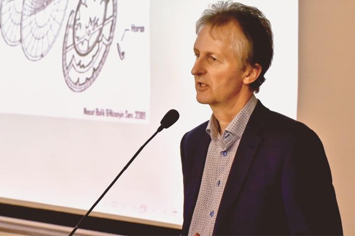 DR Jan P. Hogendijk, professor of history of mathematics at University of Utrecht, the Netherlands, speaks at Habib University on Tuesday. —Fahim Siddiqi / White Star
