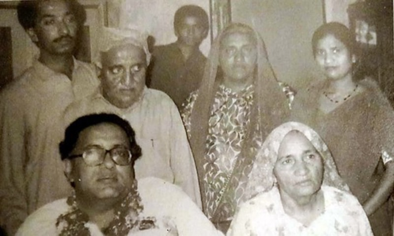 Jam Saqi with his father Mohmand Sachal, mother Mehi Bai, sister Marvi and brother Sultan. —Photo from Ahmed Saleem and Nuzhat Abbas' biography of Jam Saqi