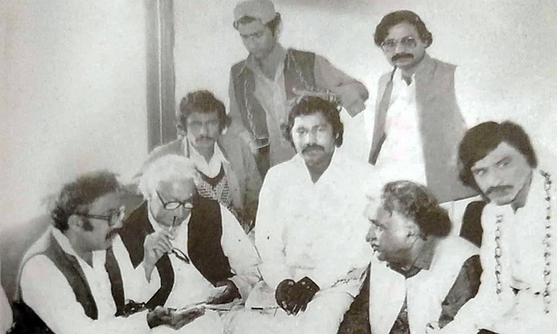Jam Saqi with Khan Abdul Wali Khan and Sindhi writer Badar Abro. —Photo from Ahmed Saleem and Nuzhat Abbas' biography of Jam Saqi