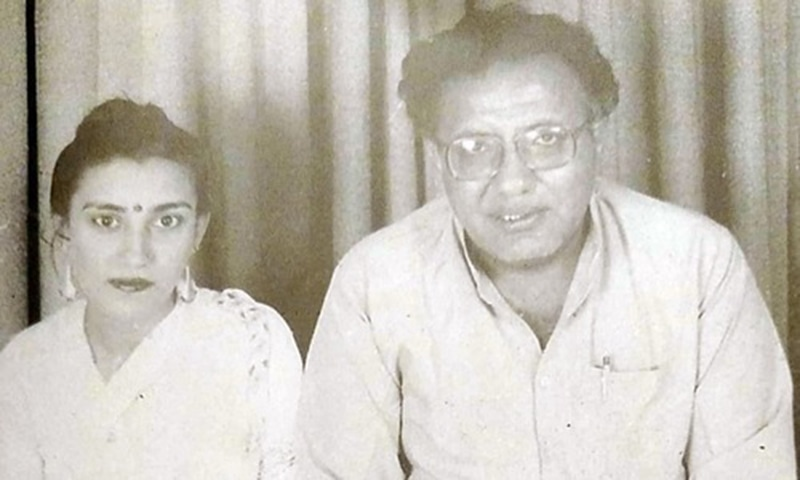 Jam Saqi with his second wife, Akhtar Sultana. —Photo from Ahmed Saleem and Nuzhat Abbas' biography of Jam Saqi