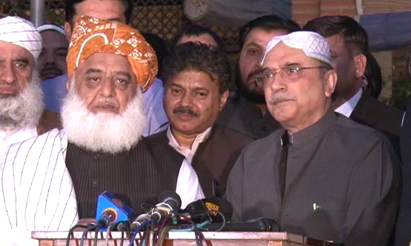 Zardari, Fazl address the media after their consultations.
