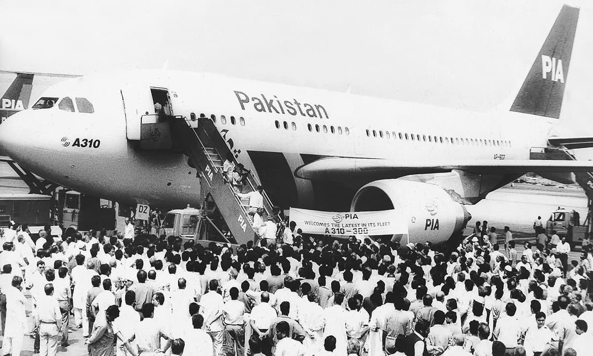 An archive image showing the induction of A310 in PIA's fleet