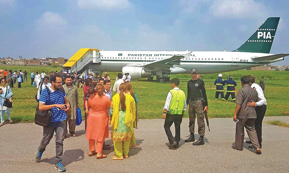 A PIA aircraft after making an emergency landing at the Benazir Bhutto International Airport in Islamabad recently