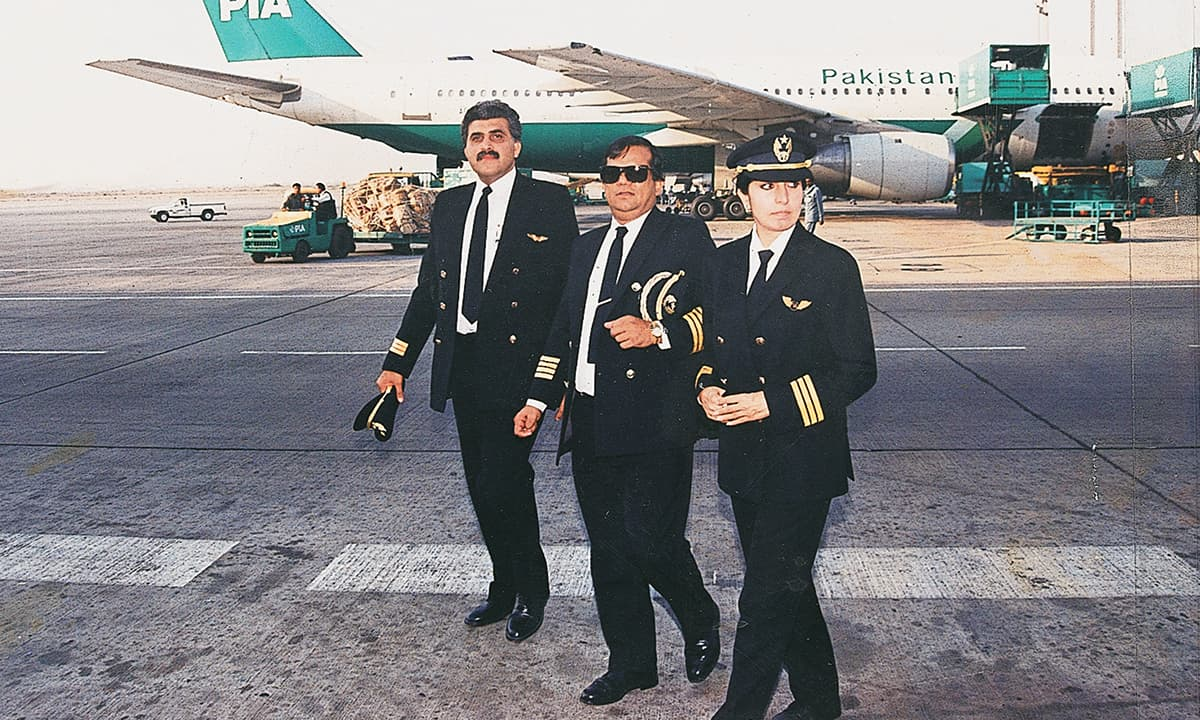 Pilots of PIA on the tarmac