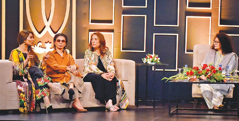 ACTRESS Reema Khan speaks during a panel discussion as Nabila, Samina Pirzada and Sania Saeed look on.—Fahim Siddiqi / White Star