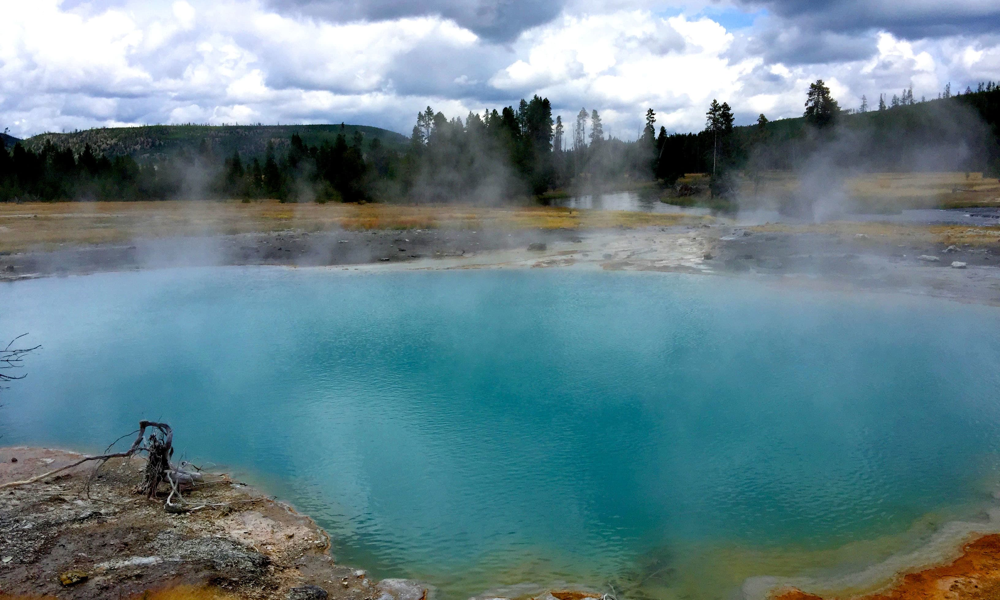Geothermal activity at Grand Prismatic Spring. —Hassan Majeed