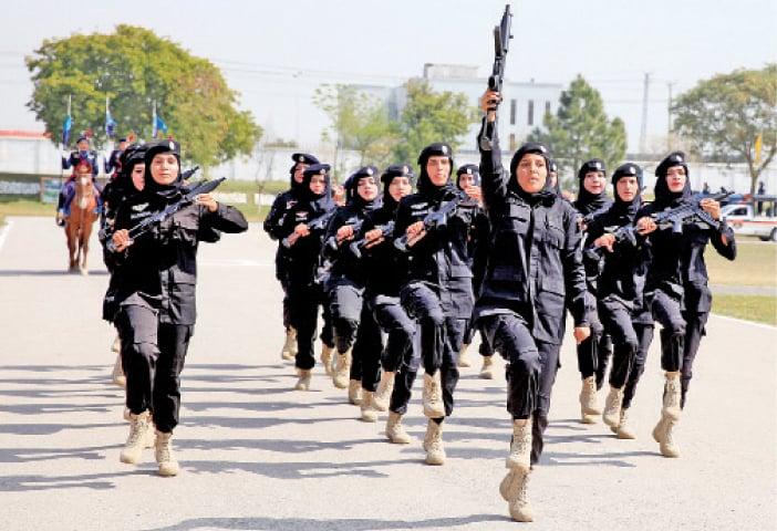 Women police commandoes drill at the International Women's Day function held at Police Lines. — White Star