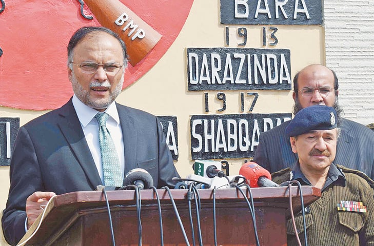 Interior Minister Ahsan Iqbal speaks to mediapersons at Frontier Constabulary Headquarters, Peshawar, on Thursday. — White Star