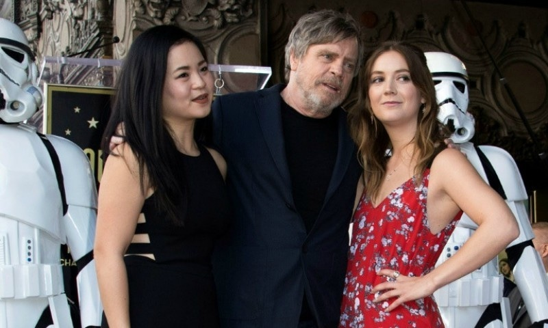 L-R) Actors Kelly Marie Tran, Mark Hamill and and Billie Lourd attend the ceremony honoring Hamill with a star on the Hollywood Walk of Fame on March 8, 2018, in Hollywood, California