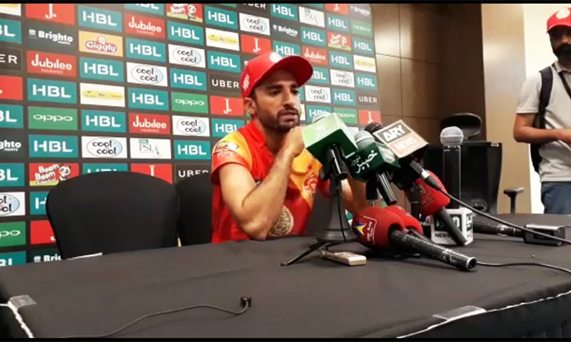 Islamabad United's spinner Zafar Gohar's post-match conversation to the reporters. — Screengrab