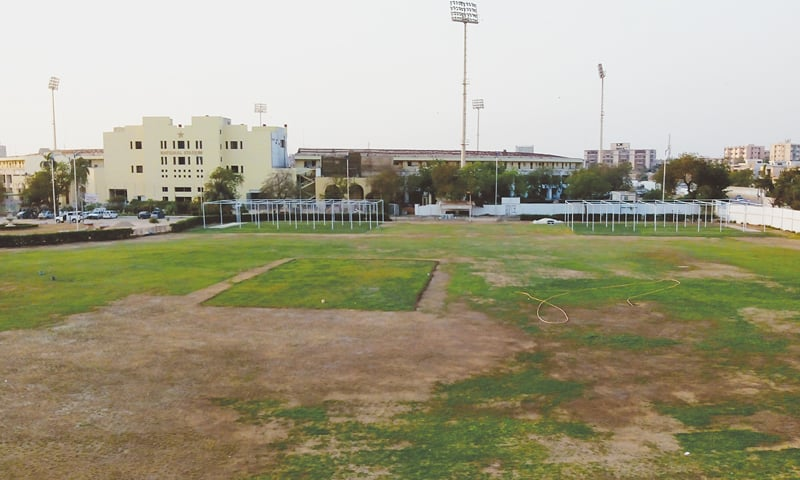 KARACHI: An aerial view of the ground with practice pitches at the Hanif Mohammad High Performance Centre.—Photo by Ibrahim Farooqi