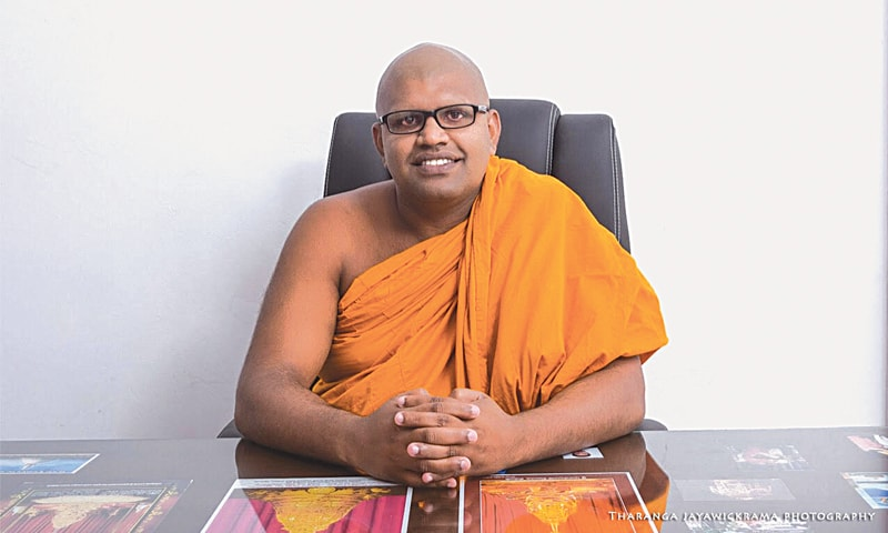 VEN. Wathurukumbure Dharmarathane, founder and head of the Nelligala International Buddhist centre in Muruthalawa, who prevented attacks on around five Muslim-majority villages in the area.—Photo by writer
