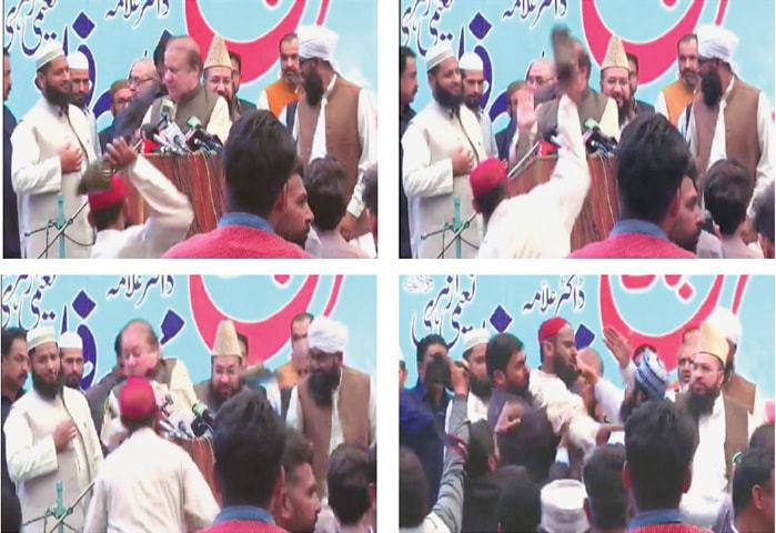 This combo made from TV grabs shows (top left) a man getting ready to throw his shoe and (right) throwing the shoe at Nawaz Sharif. (Bottom left) Mr Sharif takes evasive action and (right) the guards taking hold of the shoe thrower. — DawnNewsTV