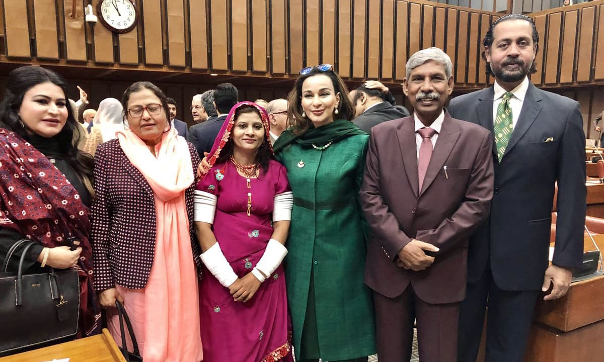 Senator Krishna Kohli poses with Senator Sherry Rehman, Anwar Lal Deen and others. — Photo courtesy Sherry Rehman's Twitter account